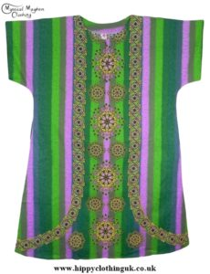 Green Striped Coloured Long Cotton Thai Kaftan Dress Unisex