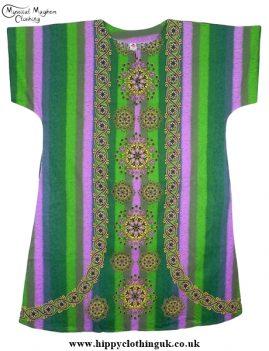 Green Striped Coloured Long Cotton Thai Kaftan Dress Unisex