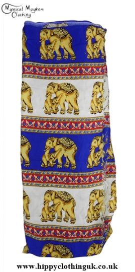 Long Elephant Beach Wrap Sarong Cover up Blue and White