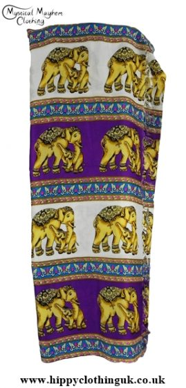 Long Elephant Beach Wrap Sarong Cover up Purple and White