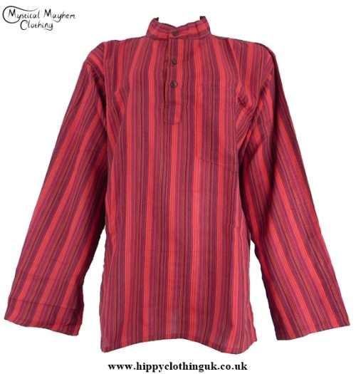 Neaplese Cotton Striped Grandad Shirt Red