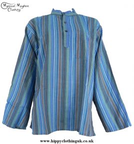 Neaplese Cotton Striped Grandad Shirt Turquoise