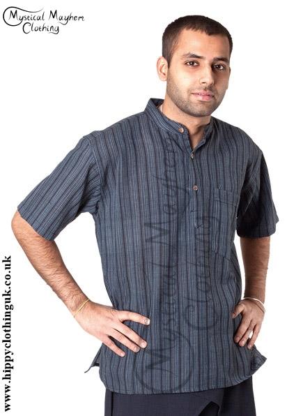 Striped Cotton Collarless Grandad Shirt Example 2