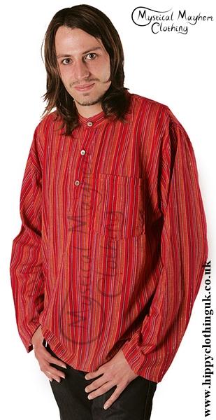 Striped Cotton Collarless Grandad Shirt Example