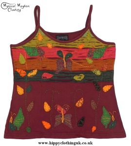 Embroidery Butterfly Vest Top Burgundy