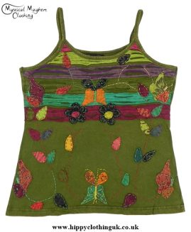 Embroidery Butterfly Vest Top Dark Green