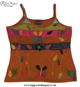 Embroidery Butterfly Vest Top Light Brown