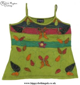 Embroidery Butterfly Vest Top Light Green