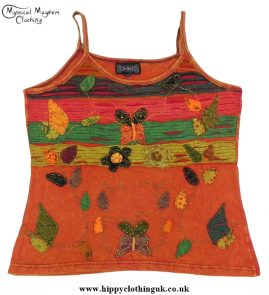 Embroidery Butterfly Vest Top Rust