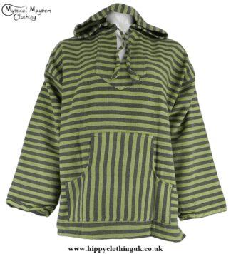 Green Striped Cotton Nepalese Smock