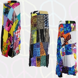 Long Rayon Patchwork Wrap Skirts