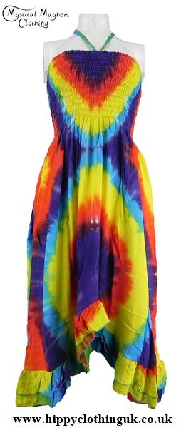 814bc0e085 Multicoloured Tie Dye Hippy Halter Neck Two in One Dress Skirt ...