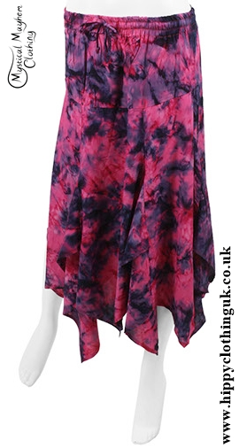 Short Tie Dye Pointed Pixie Skirt Pink And Black
