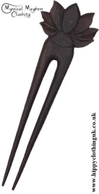 Lotus Flower wooden hippy Hair Fork