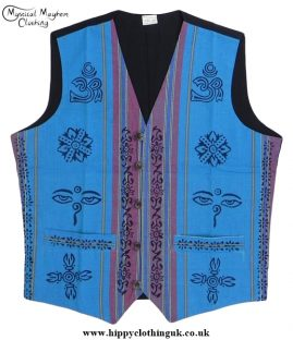 Nepalese Cotton Waistcoat with Printed Hippy Style Patterns