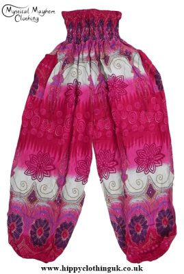 Pink Floral Harem Genie Trousers