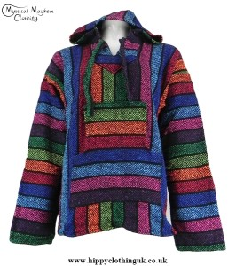 Multicoloured Mexican Jerga Baja Hooded Hippy Festival Top