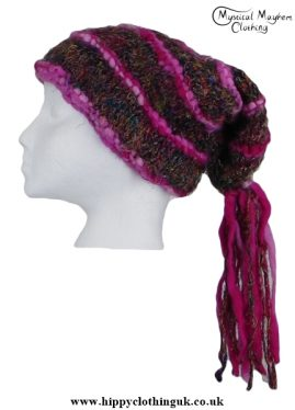 Multicoloured Recycled Silk Hat with Pink Wool Tassels
