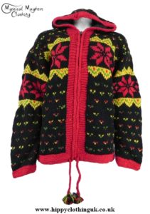 Nepalese Wool Jacket with Snowflake and multicoloured bits