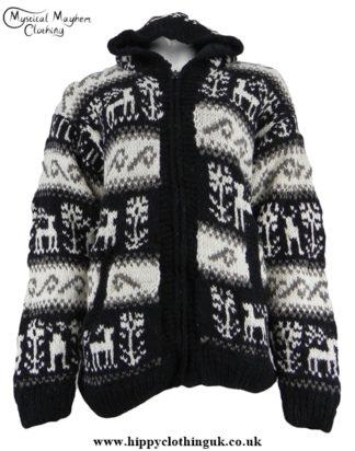 Nepalese Wool Reindeer Hooded Jacket
