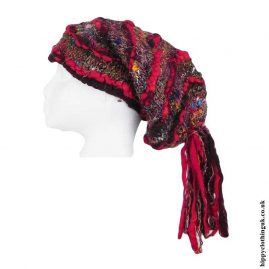 Red-Recycled-Silk-Hat-with-Wool-Tassels