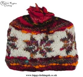 Red Wool and Recycled Silk Snowflake Hat