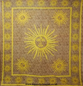 Brown Sun Pattern Throw, Wall Hanging, Bed Spread