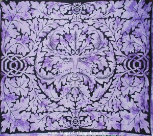 Green Man Pattern Throw, Wall Hanging, Bed Spread, Purple