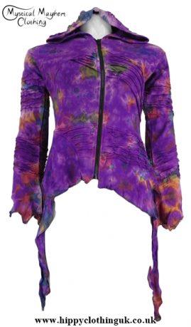 Purple Tie Dye Pixie Hooded Ragged Hem Cotton Jacket
