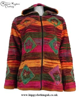 Cotton Fleece Lined Ripped Look Pixie Hooded Hippy Festival Jacket Red and Rust