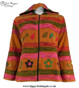 Rust Cotton Fleece Lined Pixie Hooded Jacket