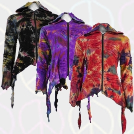 Tie Dye Pixie Hooded Ragged Hem Cotton Jacket