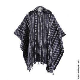 Black-&-White-Cotton-Thick-Weave-Poncho