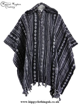 Black and white Nepalese Cotton Thick Weave Poncho
