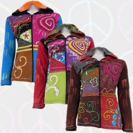 Cotton Patchwork Pixie hooded Swirl Hippy Jacket