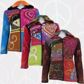 Cotton Patchwork Pixie hooded Swirl Hippy Jacket