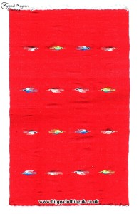 Red Mexican Bird Blanket Rug