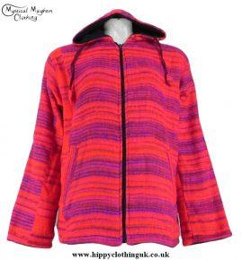 Acrylic Wool Cashmelon Fleece Lined Hooded Jacket