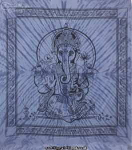 Blue Tie Dye Hippy Cotton Ganesh Throw, Bedspread, wall hanging