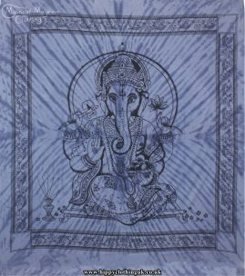 Blue Tie Dye Hippy Cotton Ganesh Throw, Bedspread, wall hanging