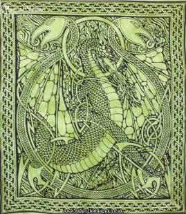 Green Tie Dye Hippy Cotton Dragon Throw, Bedspread, wall hanging