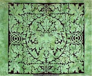 Green Tie Dye Hippy Cotton Greenman Throw, Bedspread, wall hanging