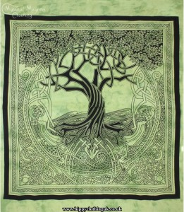 Green Tie Dye Hippy Cotton Tree of Life Throw, Bedspread, wall hanging