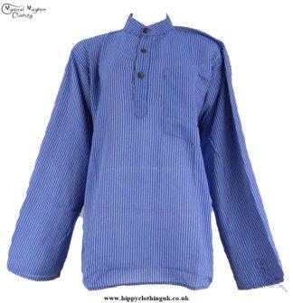 Neaplese Cotton Striped Grandad Shirt Blue and White