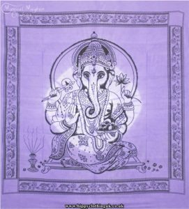Purple Tie Dye Hippy Cotton Ganesh Throw, Bedspread, wall hanging