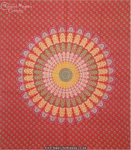 Red Hippy Cotton Peacock Throw, Bedspread, wall hanging