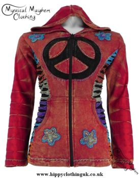 Red Nepalese Cotton Hooded Hippy Peace Sign Jacket