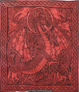 Red Tie Dye Hippy Cotton Dragon Throw, Bedspread, wall hanging