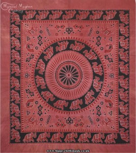 Red Tie Dye Hippy Cotton Elephant Throw, Bedspread, wall hanging