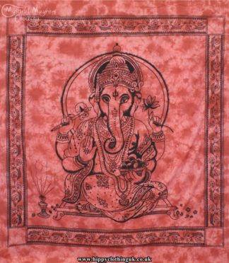Red Tie Dye Hippy Cotton Ganesh Throw, Bedspread, wall hanging